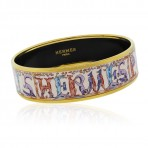 Hermes Enamel Printed Multi Color Animal Narrow Bangle