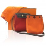 Hermes Herbag 2 in 1 Orange or Red Canvas Shoulder Bag