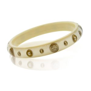 Chanel ivory gold tone logo bangle bracelet