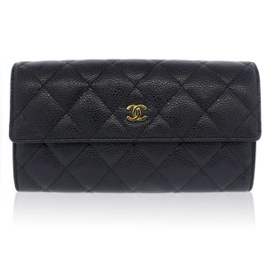 Chanel Black Caviar GHW Snap Wallet Boca Raton