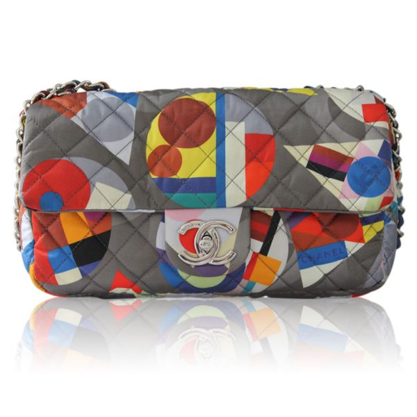 Chanel multicolor nylon quilted shoulder bag purse no. 20