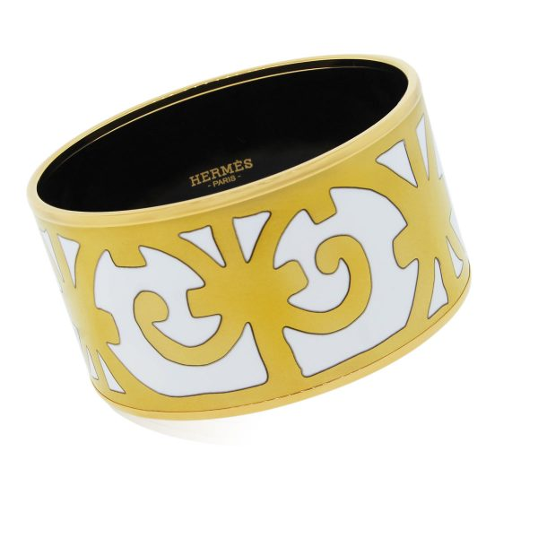 Hermes Extra Wide Enamel Bangle Bracelet