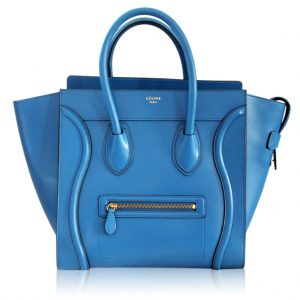 Celine Blue Palmelato Leather Mini Luggage Tote Bag