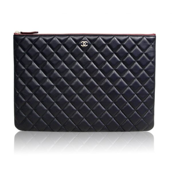 Chanel Quilted Black Lambskin Envelope Clutch iPad Case No. 20