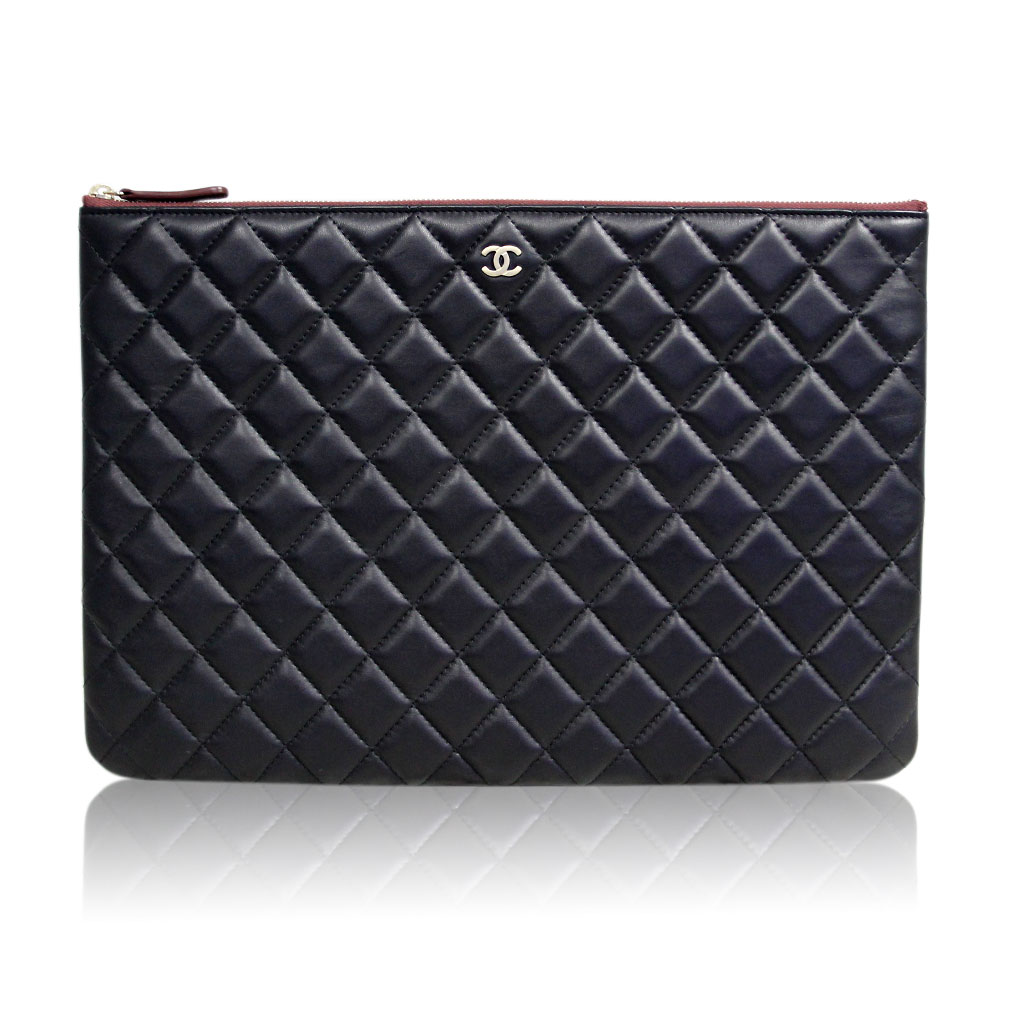 Chanel Black Quilted Lambskin Envelope Clutch Ipad Case No 20