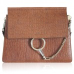 Chloe Medium Faye Croc-Effect Leather Mahogany Shoulder Bag