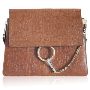Chloe Medium Faye Croc-Effect Leather Shoulder Bag