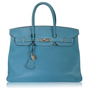 "Hermes Birkin 35 ""N"" Stamp Blue Jean Togo Leather Handbag"