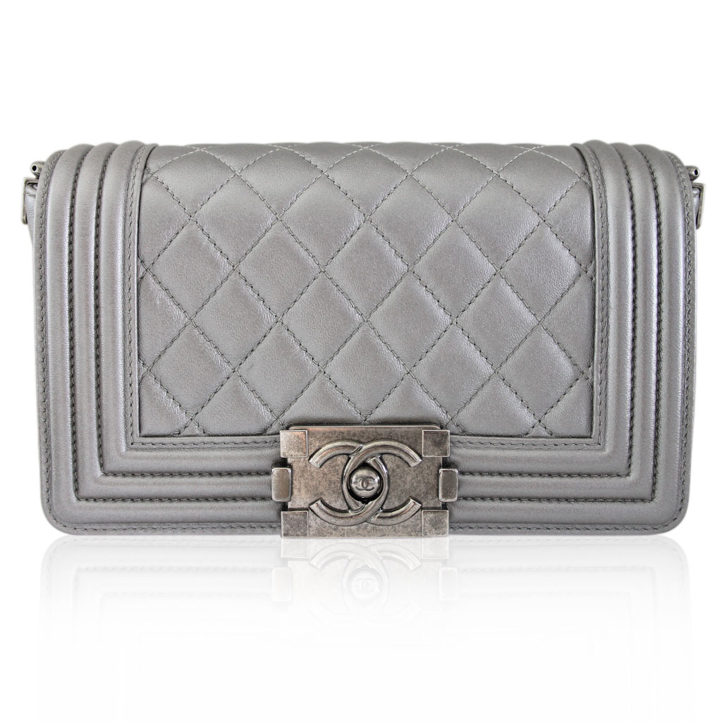 6931362dddb3 Chanel Silver Boy Bag Quilted Leather Stingray Strap SHW Flap Bag