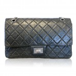 Chanel Black Aged Calfskin Reissue 227 Large Flap Bag Palladium Hardware