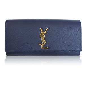 Saint Laurent YSL Sac Cassandre Navy Blue Leather Clutch GHW in Dust Bag