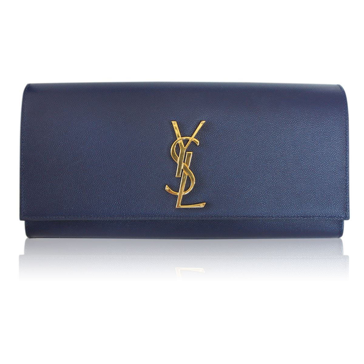 f1799e36d9c9 Saint Laurent YSL Sac Cassandre Navy Blue Leather Clutch GHW in Dust Bag