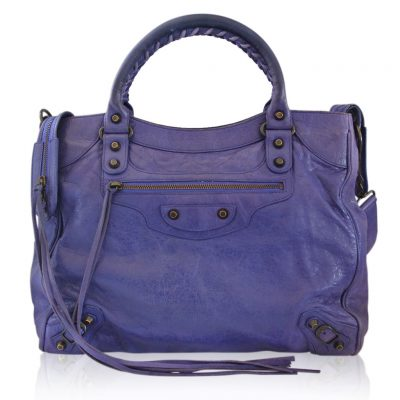 Balenciaga Arena Giant City Purple Handbag in Dust Bag