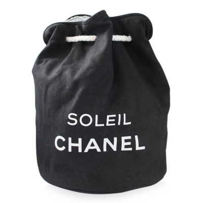 Chanel Soleil Drawstring Bucket Black Cotton Bag Purse
