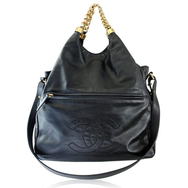 Chanel black lambskin slouch bag ghw