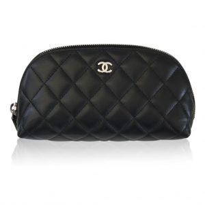 Chanel lambskin black quilted shw makeup case