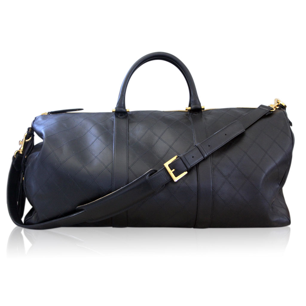 10b5af2525d4 Chanel Black Leather Quilted Boston Travel GHW No. 3 Duffel Bag