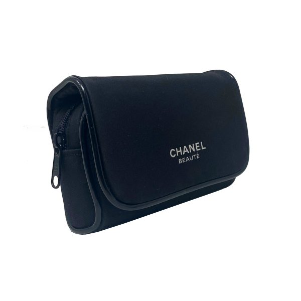 Chanel Beaute Black Nylon Make Up Case with Mirror in Box