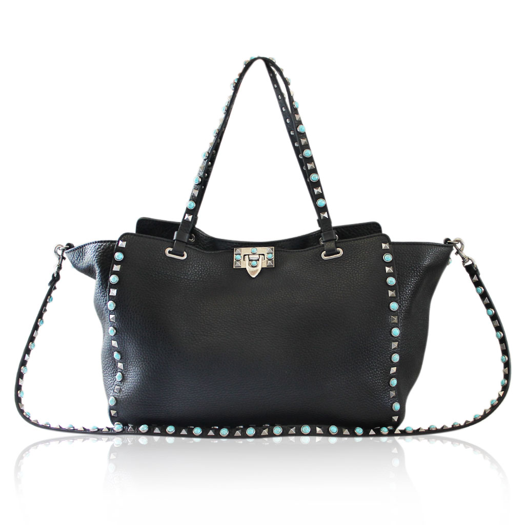valentino rockstud medium black leather turquoise silver handbag. Black Bedroom Furniture Sets. Home Design Ideas