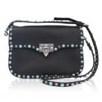Valentino Rockstud Rolling Black/Silver/Turquoise Cross Body Bag Purse
