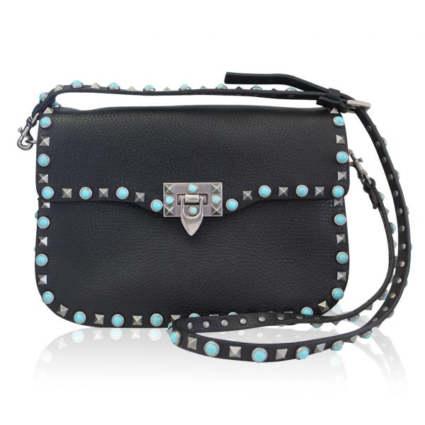 Valentino Rockstud Rolling Turquoise Cross body bag