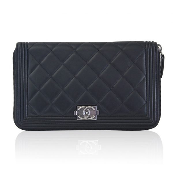 Chanel Lambskin large black boy wallet