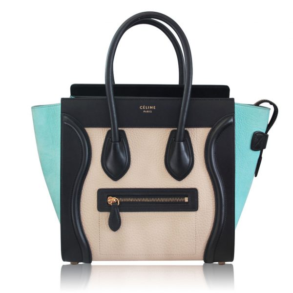 Celine tricolor Micro Luggage Pebbled leather and suede tote bag