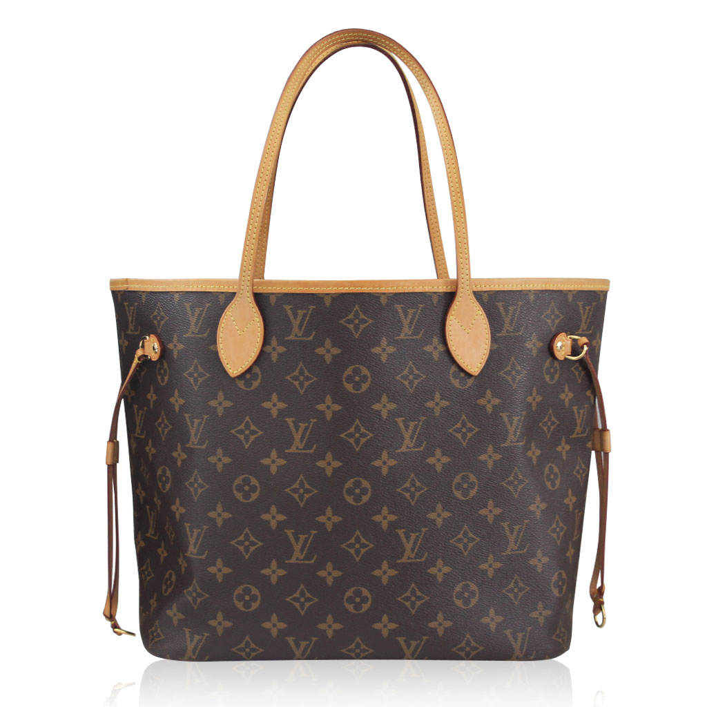 louis vuitton neverfull mm monogram canvas tote bag with. Black Bedroom Furniture Sets. Home Design Ideas
