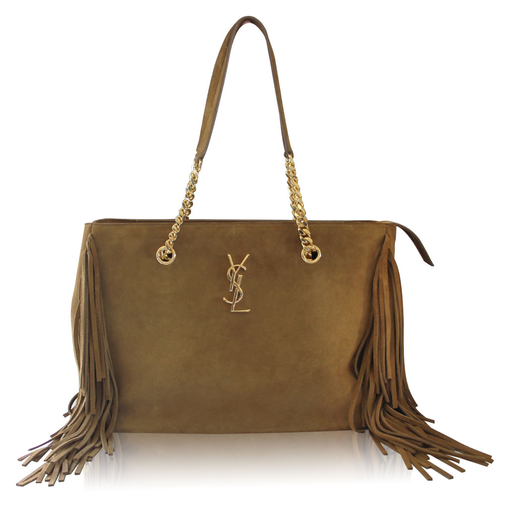 Yves Saint Laurent Ysl Saddle Suede Fringe Tassel Bag With