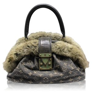 Louis Vuitton black denim chinchilla demi lune