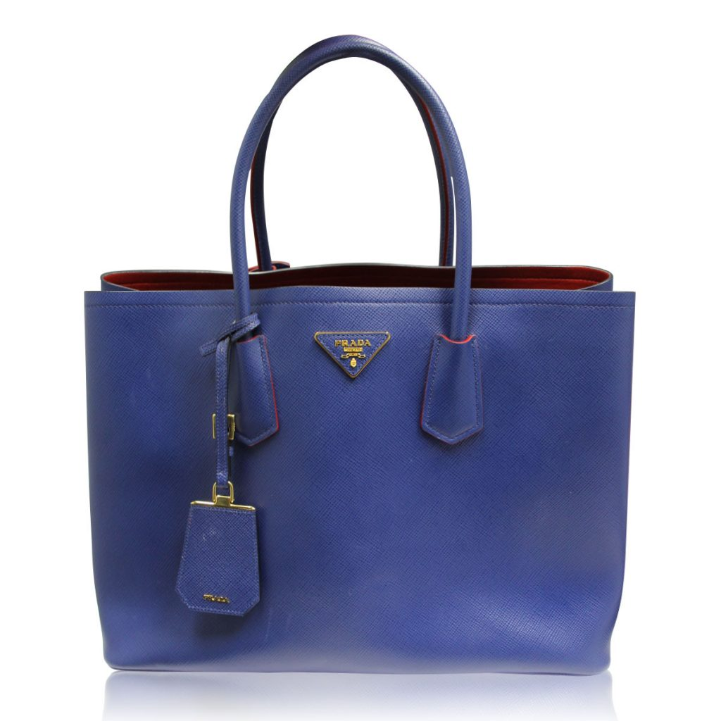 prada saffiano cuir double bag blue and red large tote bag. Black Bedroom Furniture Sets. Home Design Ideas