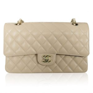 CHANEL MEDIUM BEIGE DOUBLE FLAP