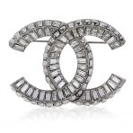 Chanel Baguette Crystal CC Brooch in Box