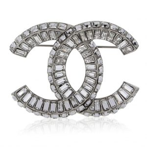 Chanel Baguette Crystal CC Brooch