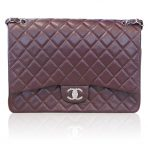 Chanel Maxi Double Flap Plum Caviar SHW Shoulder Bag Purse No. 20