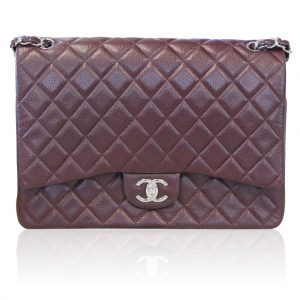 Buy Chanel Plum Maxi Double Flap Caviar SHW