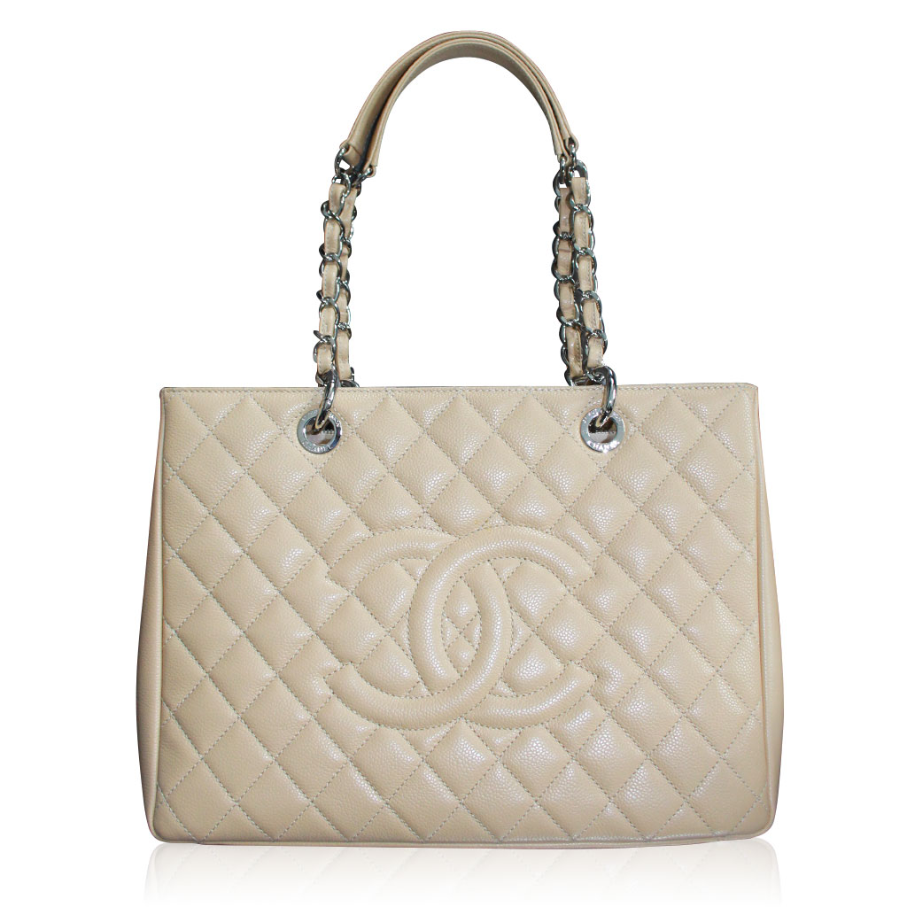 chanel beige grand shopping tote gst in dust bag no 19. Black Bedroom Furniture Sets. Home Design Ideas