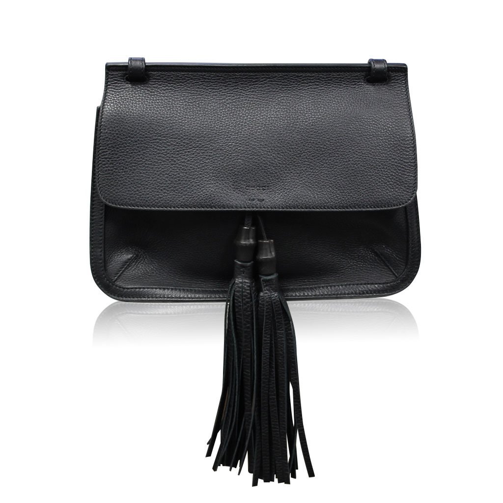 0cf98db6d309 Gucci Bamboo Daily Black Leather Tassel Cross Body Bag