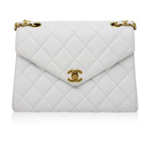 chanel vintage white lambskin mini flap