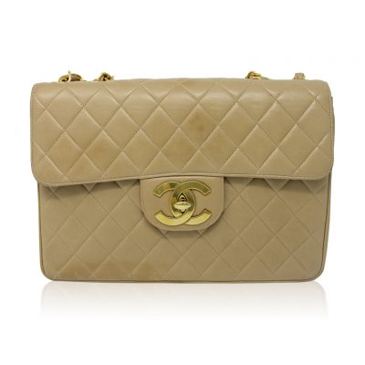 Chanel Vintage Maxi Single Flap Beige/Tan Quilted Lambskin GHW No. 3