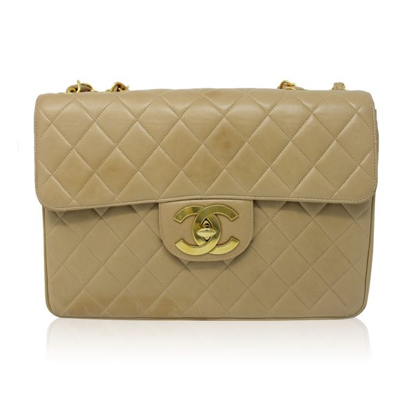 Chanel beige quilted lambskin maxi single flap bag