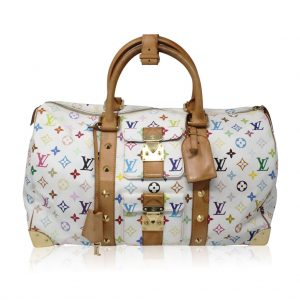 Authentic Louis Vuitton Murakami Keepall 45 White Handbag