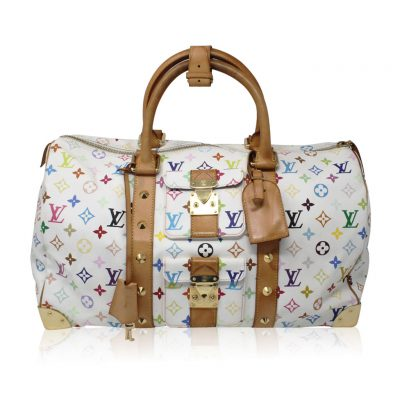 Louis Vuitton Murakami Keepall 45 White Handbag Purse Travel Bag