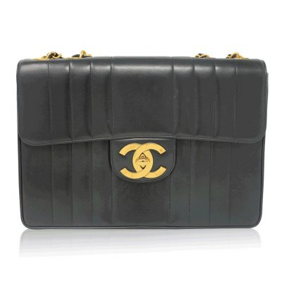 Chanel Black Quilted Lambskin Vertical Maxi Flap GHW Vintage Handbag