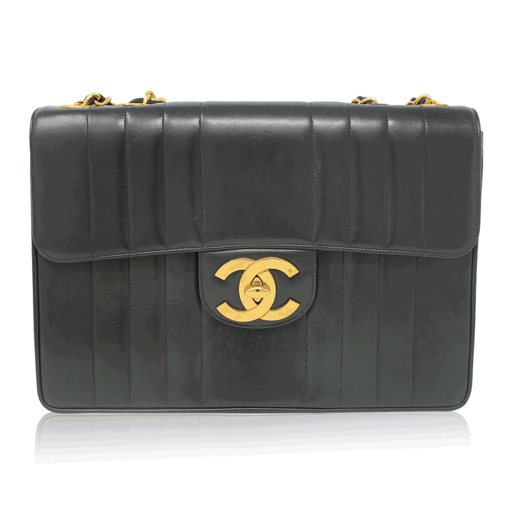 Chanel Black Quilted Lambskin Vertical Maxi Flap Ghw
