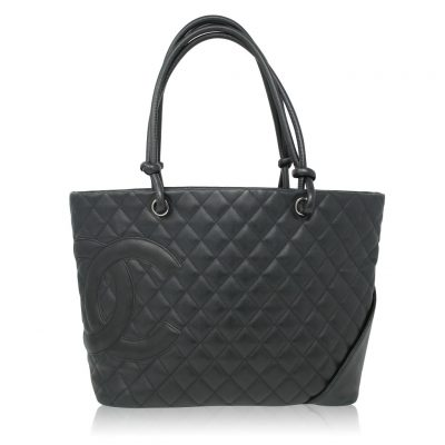 Chanel Cambon Line Large Black Calf Shoulder Tote Bag