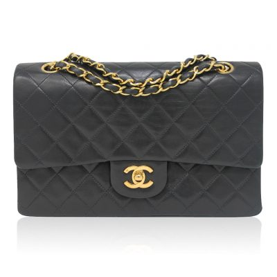 Chanel Double Flap Black Quilted Lambskin Vintage Bag in Box No. 2