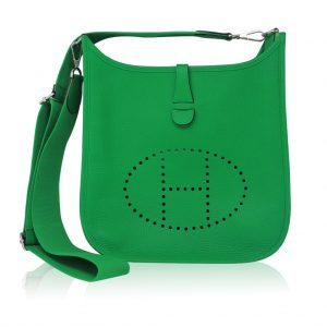 Hermes Bamboo Green Evelyne III Clemence Leather