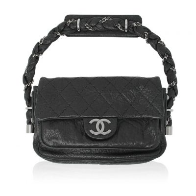 Chanel Distressed Leather Quilted Flap Lady Braid Handle Handbag