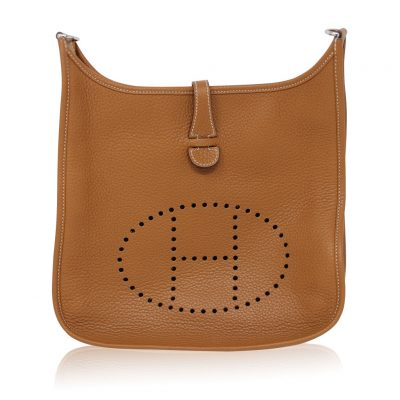 Hermes Evelyne III PM Gold Clemence Leather R in Square Handbag 2014